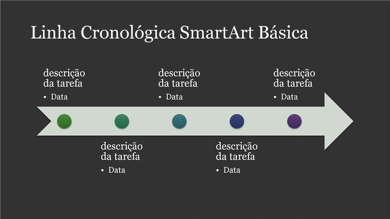 Linha Cronológica SmartArt Básica (branco sobre cinzento escuro), ecrã panorâmico