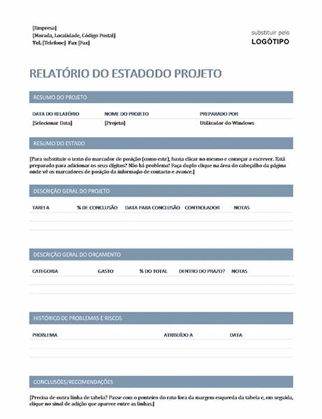 Relatório de estado do projeto