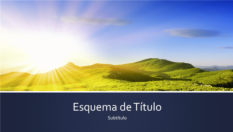 Apresentação com risca azul e fotografia do nascer do sol na montanha (ecrã panorâmico)