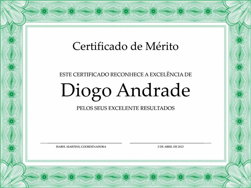Certificado de Excelência para Alunos (limite verde formal)