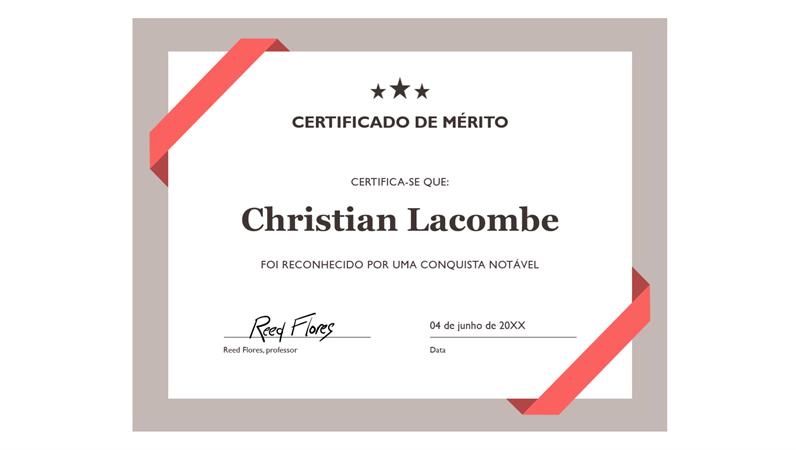 Certificado de Reconhecimento (limite azul formal)
