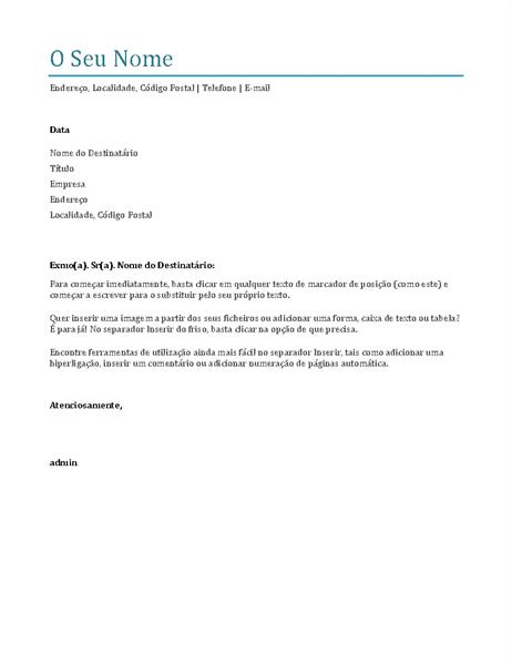Carta de apresentação (azul)