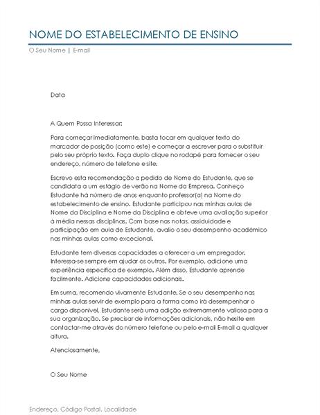 Carta de Recomendação de Professor