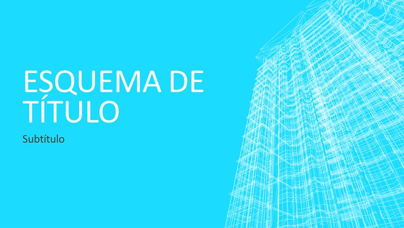 Apresentação empresarial com esboço de edifício (ecrã panorâmico)