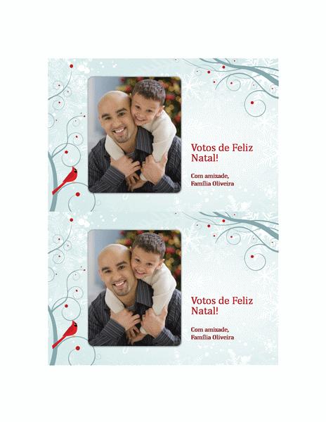 Cartão festivo com fotografia (padrão flocos de neve)