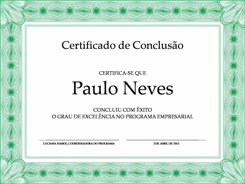 Certificado de conclusão (verde)