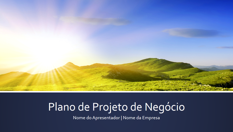Apresentação do plano de projeto de negócios (ecrã panorâmico)