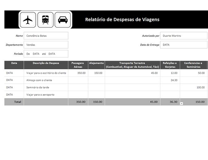 Relatório de despesas de viagem com registo de quilometragem
