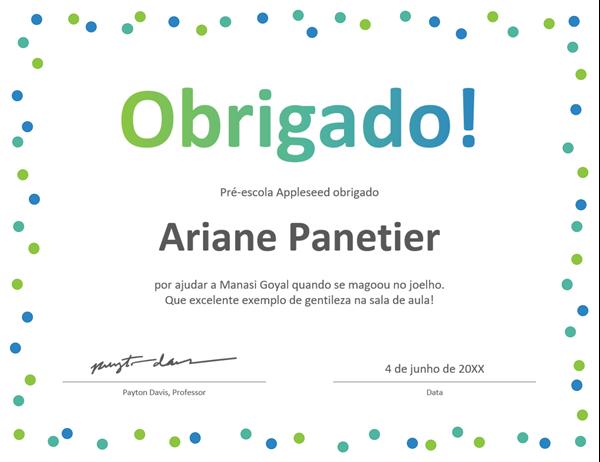 Certificado de agradecimento