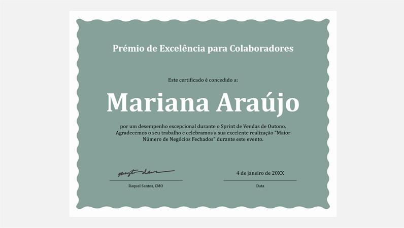 Certificado de excelência para colaboradores