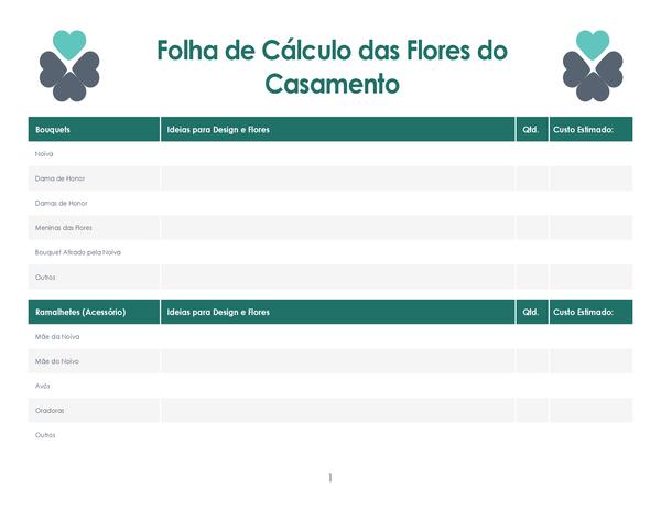 Planeador do custo de flores do casamento (4 páginas)
