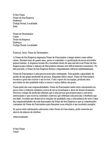 Carta de referência para funcionários