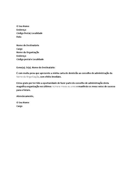 Carta de demissão do conselho de administração