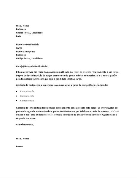 Carta de apresentação de exemplo para resposta a anúncio para cargo técnico