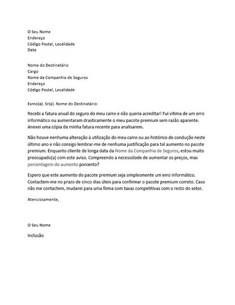 Carta de reclamação acerca do aumento do pacote premium do seguro