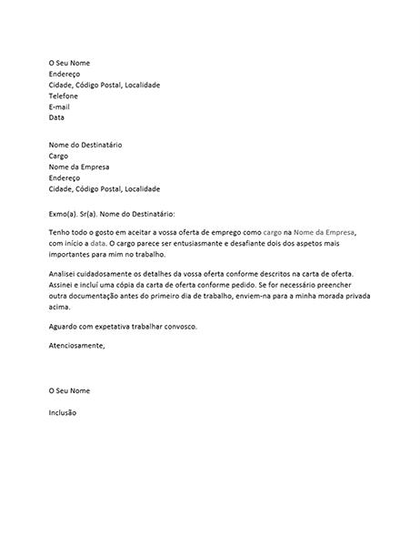 Carta de aceitação de uma oferta de emprego