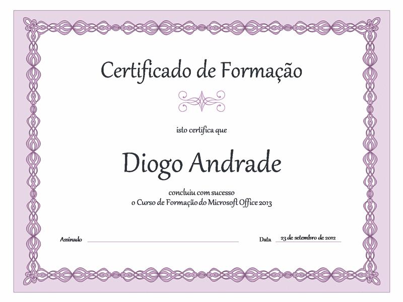 Certificado de Formação (design de corrente lilás)