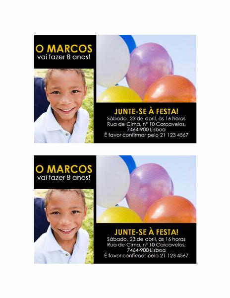Convite para festa (amarelo sobre preto, design de duas fotos)