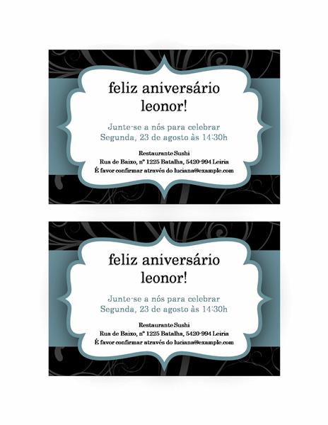 Convite para festa (design de fita azul)