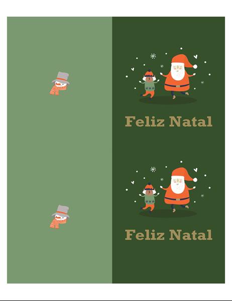 Cartões de Natal (design Espírito Natalício, 2 por página, compatível com papel da Avery)