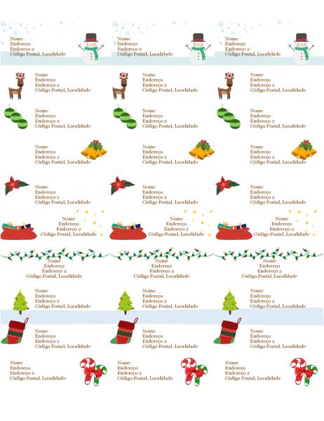Etiquetas de identificação de presentes (design Espírito Natalício, 30 por página, compatível com o modelo Avery 5160)