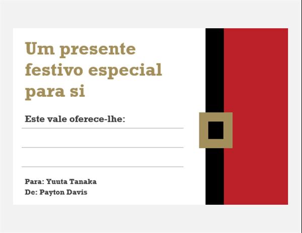 Vales de oferta de Natal (design Espírito Natalício, 3 por página)