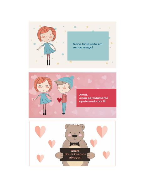 Cartões do Dia de S. Valentim para crianças (12 desenhos, 3 por página)