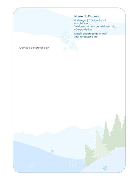 Papel timbrado de carta de inverno