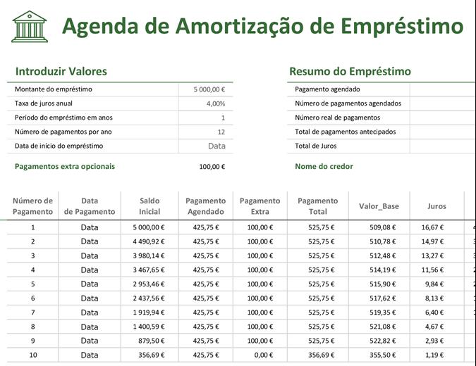 Agenda de amortização de empréstimo