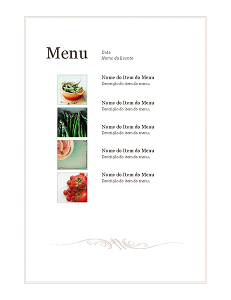 Menu de evento (Design Simples)