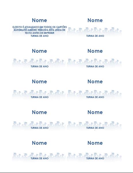 Cartões de finalista com nome (10 por página)