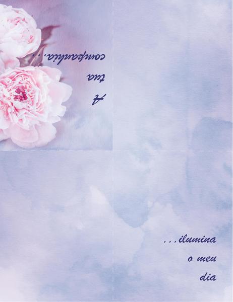 Cartão de Romance (com rosa, dobrado em quatro)