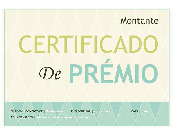 Prémio de certificado (design arlequim)