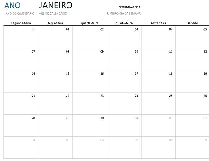 Calendário de um mês de um ano qualquer