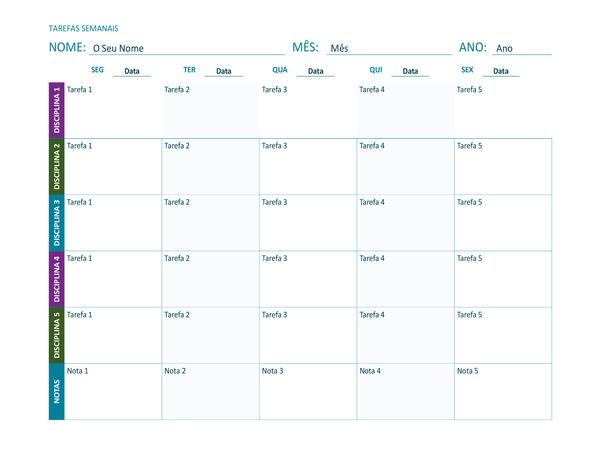 Folha de tarefas semanais (cor, na horizontal)