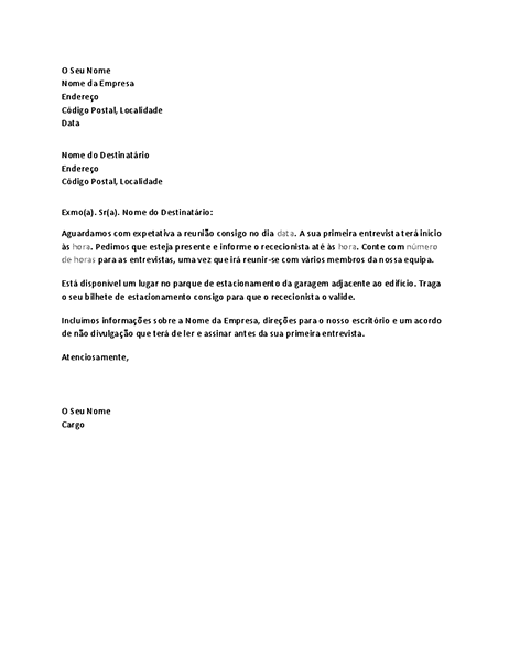 Carta a confirmar a entrevista de trabalho do candidato