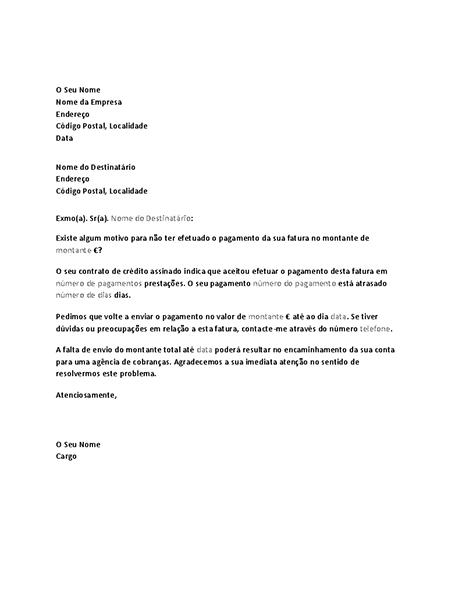 Carta de pedido de pagamento de conta em atraso