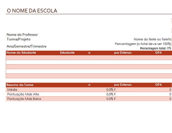 Livro de avaliações para professores (baseado em percentagens)