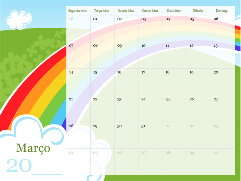 Calendário sazonal ilustrado de 2018 (segunda-feira a domingo)