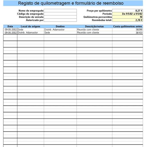 Reg. de quilometragem com formulário de reembolso