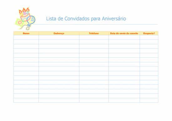 Lista de convidados para aniversário