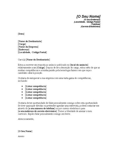 Carta de Apresentação em Resposta a Anúncio de Posição Técnica
