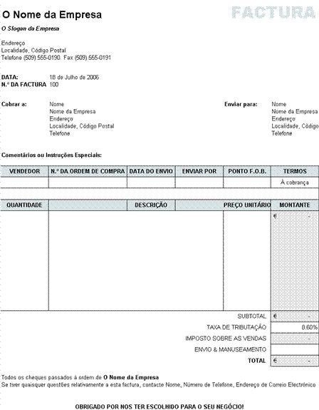 Factura de vendas com cálculos de imposto, expedição e processamento