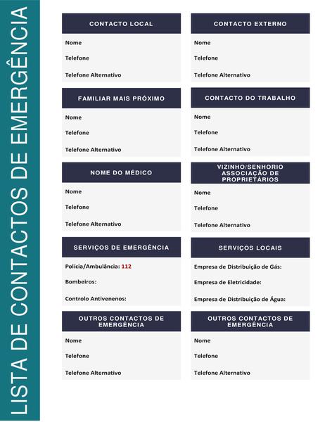 Lista de contactos de emergência