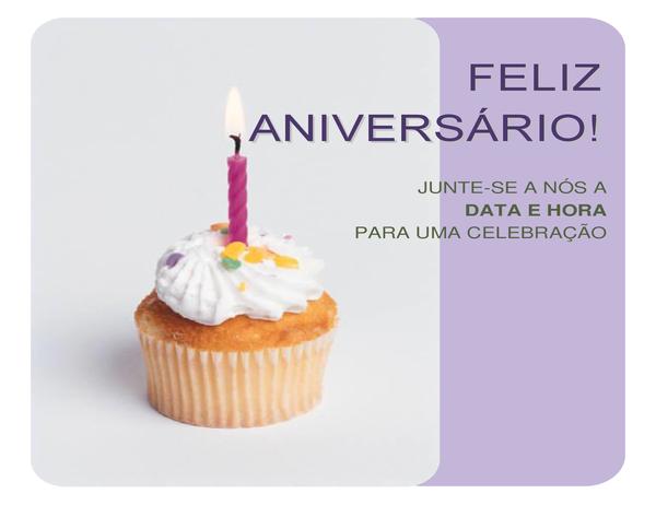 Panfleto de convite para aniversário (com um cupcake)