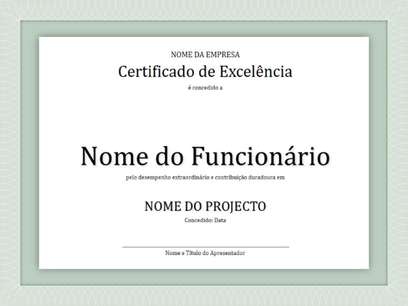 Certificado de excelência para funcionários