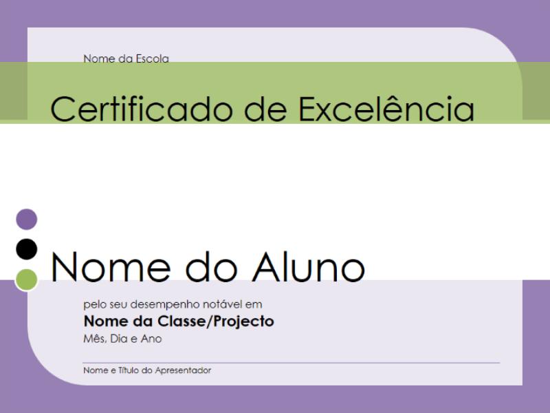 Certificado de excelência para alunos