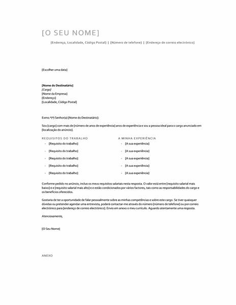 Carta de apresentação com requisitos de salário