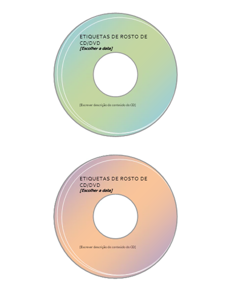 Etiquetas de rosto de CD/DVD