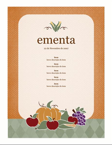Ementa (desenho de colheitas)
